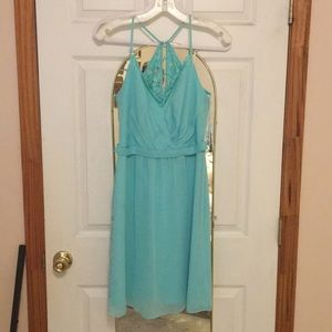 Davids Bridal Short Bridesmaid Dress in Spa